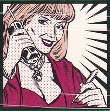 Rosemary Sexton holding phone and pen in cartoon drawing